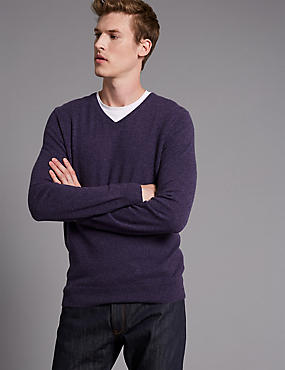 Pure Cashmere V-Neck Jumper, LIGHT PURPLE, catlanding
