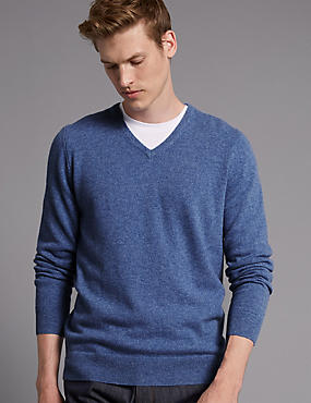 Pure Cashmere V-Neck Jumper, BLUE, catlanding