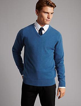 Pure Cashmere V-Neck  Jumper, MEDIUM BLUE, catlanding