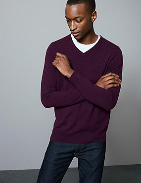 Pure Cashmere V-Neck Jumper, BERRY, catlanding
