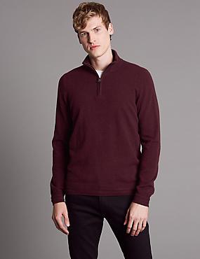 Pure Cashmere Half Zip Jumper, BURGUNDY, catlanding