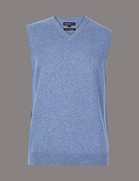 Pure Cashmere Sleeveless Jumper , BLUE, catlanding