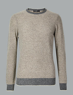 Merino with Cashmere Birdseye Jumper, NEUTRAL, catlanding