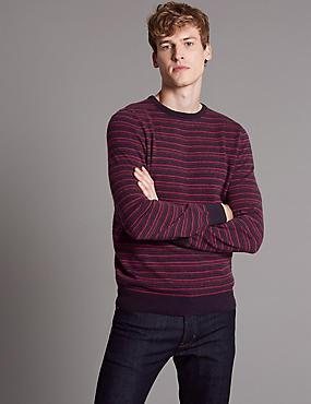 Pure Cashmere Striped Jumper, BERRY, catlanding