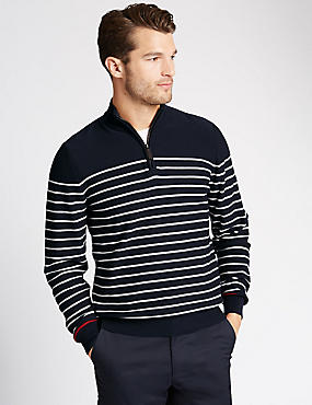 Pure Cotton Half Zip Striped Jumper