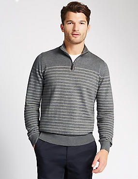 Pure Cotton Zip Through Neck Striped Jumper