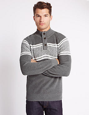 Pure Cotton Sport Block Striped Jumper