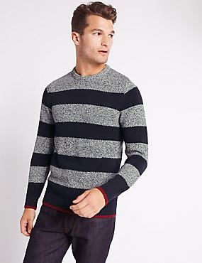 Pure Cotton Block Striped Jumper