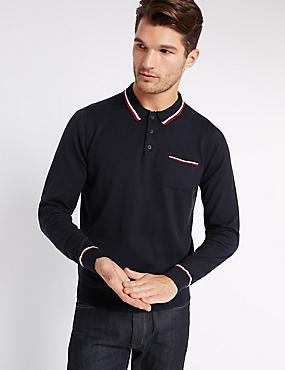 Pure Cotton Contrasting Edge Polo Jumper