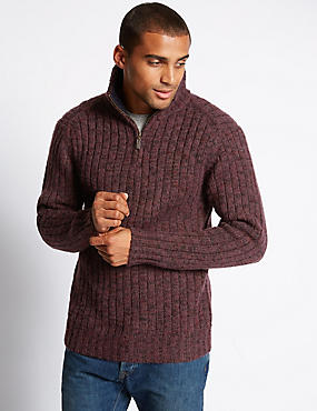 Half Zip Neck Textured Jumper with Wool