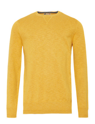 Pure Cotton Slim Fit Elbow Patch Jumper Clothing
