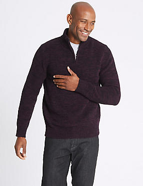 Textured Half Zip Jumper
