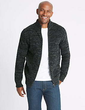 Textured Zipped Through Cardigan