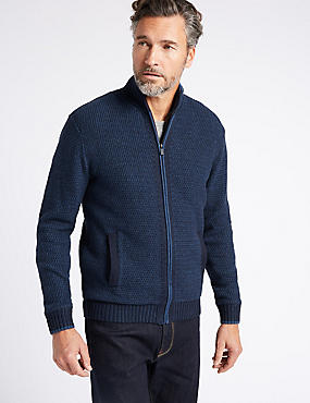 Cotton Rich Zipped Through Cardigan