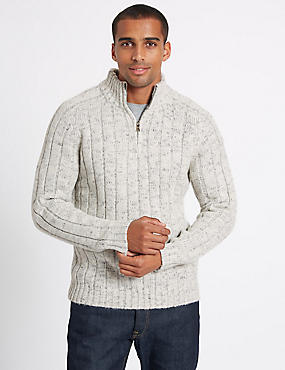 Textured Half Zipped Jumper, WINTER WHITE, catlanding