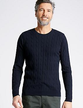 Cotton Cashmere Cable Knit Jumper, NAVY, catlanding