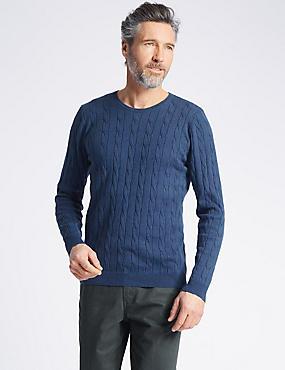 Cotton Cashmere Cable Knit Jumper, MID BLUE, catlanding