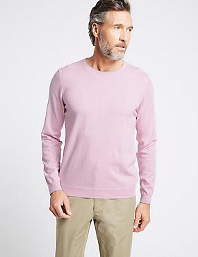 Cotton Cashmere Blend Jumper, PINK, catlanding
