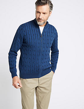 Cotton with Cashmere Zip Through Cardigan, BLUE MIX, catlanding
