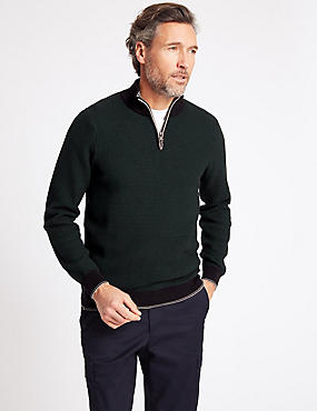 Pure Cotton Textured Half Zipped Jumper