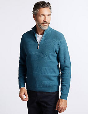 Cotton Rich Textured Half Zip Jumpers, MID BLUE, catlanding