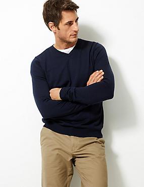 Pure Merino Wool Jumper, NAVY, catlanding