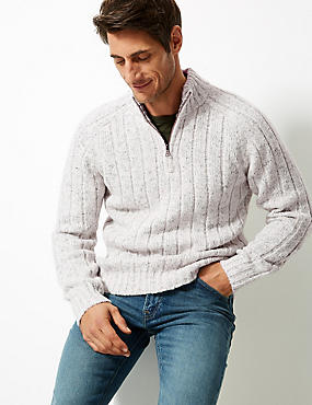 Textured Jumper with Wool, WINTER WHITE, catlanding
