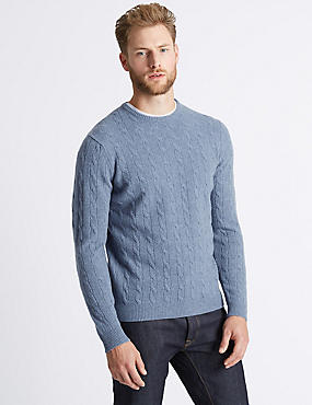 Merino Cable Knit Jumper with Yak, MEDIUM BLUE, catlanding