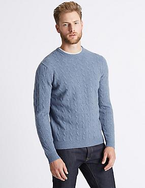 Merino Cable Knit Jumper with Yak, MEDIUM BLUE, catlanding