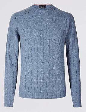 Merino Wool Rich Cable Kit Jumper, MEDIUM BLUE, catlanding