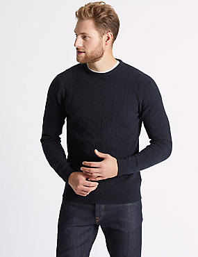 Merino Cable Knit Jumper with Yak, NAVY, catlanding