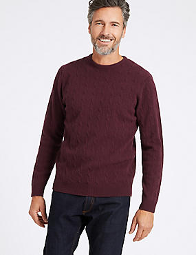 Merino Cable Knit Jumper with Yak, BURGUNDY, catlanding