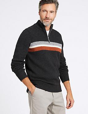 Wool Blend Striped Jumper, CHARCOAL MIX, catlanding