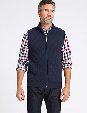 Lambswool Rich Quilted Sleeveless Jumper, NAVY, catlanding