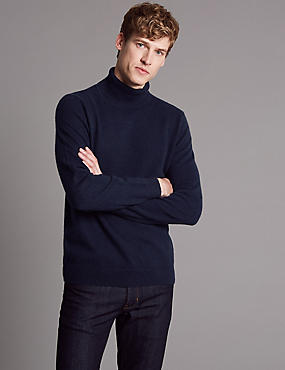 Pure Cashmere Roll Neck Jumper , NAVY, catlanding
