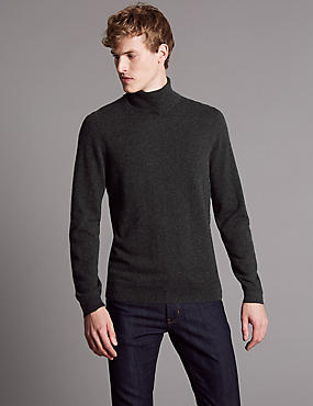 Pure Cashmere Roll Neck Jumper , CHARCOAL, catlanding