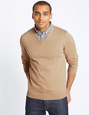 Cotton Rich Mock Shirt Jumper