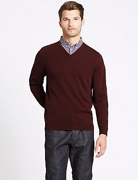 Pure Cotton Checked Mock Shirt Jumper, BURGUNDY, catlanding