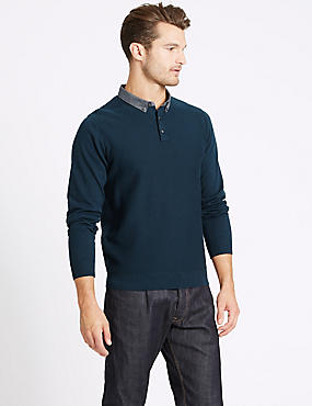 Pure Cotton Textured Mock Shirt Jumper