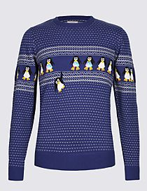 Penguins Crew Neck Jumper with Lights