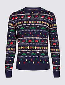 Elf and Flashing Lights Crew Neck Jumper