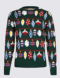 Baubles Crew Neck Jumper with Lights