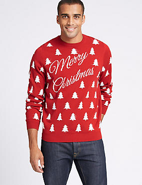 Merry Christmas Slogan Jumper, RED MIX, catlanding