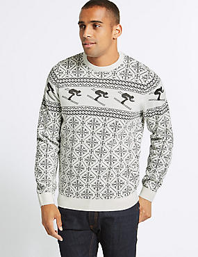Alpine Skier Christmas Jumper, WINTER WHITE, catlanding