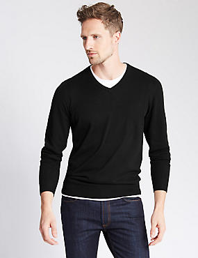 Cotton Blend V-Neck Jumper