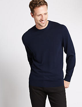 Cotton Blend Crew Neck Jumper