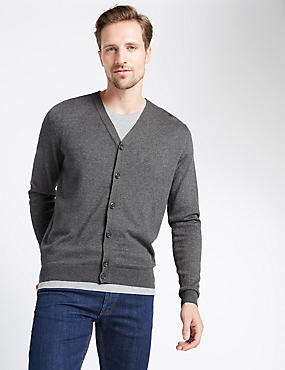 Cotton Blend V-Neck Cardigan