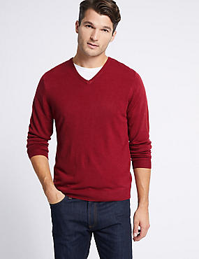 Cashmilon™ V-Neck Jumper, RUBY, catlanding