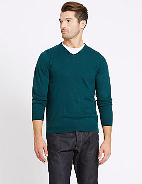 V-Neck Jumper, DARK EVERGREEN, catlanding
