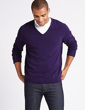 Cashmilon™ V-Neck Jumper, GRAPE, catlanding